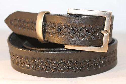 Black Tooled Belt, for jeans - BT35-114