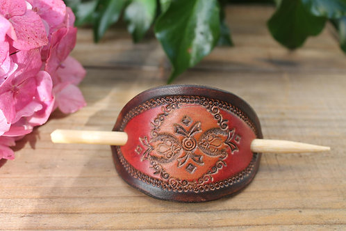 Orange red and brown Hairslide/ Leather Barrette /Handmade