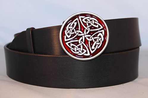 Belt buckle Red Small Celtic knot  | Pewter platted buckle | T317R