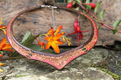 Leather Red Torc - Floral design