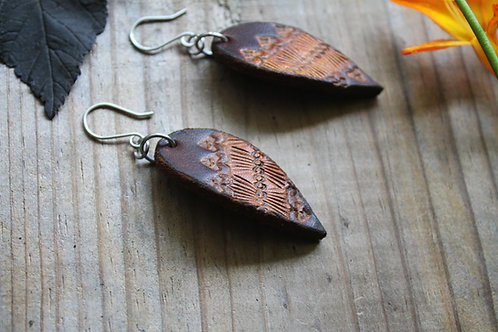 Natural brown Earrings | Leaf shaped Earrings