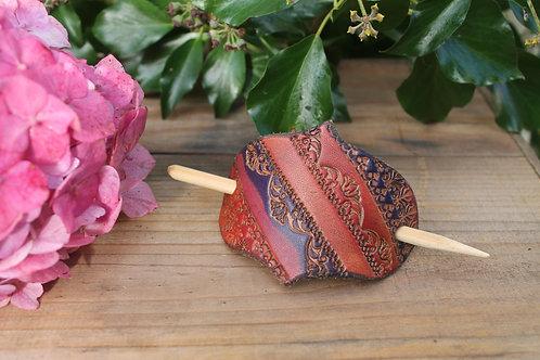 Purple and red shade Hairslide/ Leather Barrette /Handmade