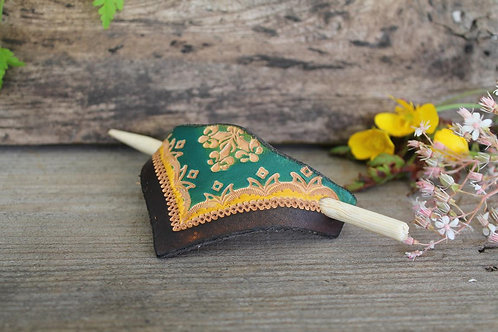Hair Slide / Leather Barrette /Green-Brown