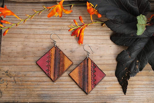 Large square Tribal Earrings | Handmade Large Red Burnt diamond Leather Earr