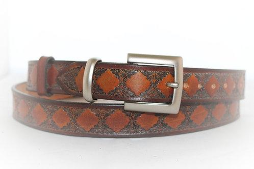 Tan Belt Hand Tooled, 30mm wide, XT30-013