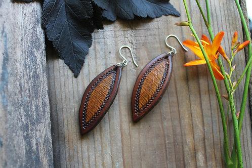 Brown and Burnt Earrings | Leaf shaped Earrings
