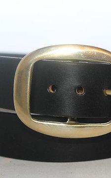 "Handmade leather belt | 1 1/2"" Plain Belt with solid brass buckle, Oval Flat"