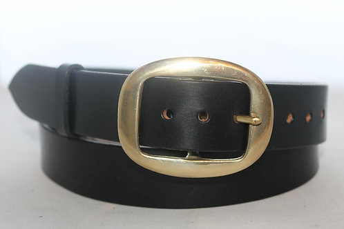 "Handmade leather belt | 1 1/2"" Plain Belt with solid brass buckle, Oval Flat"