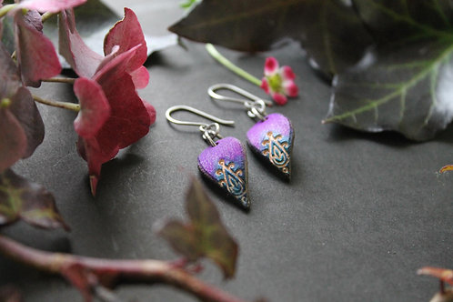 Purple and Navy Floral Earrings | Small drop Leather Earrings