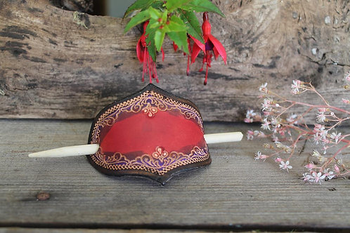 Red Purple floral Hairslide/ Leather Barrette /Handmade