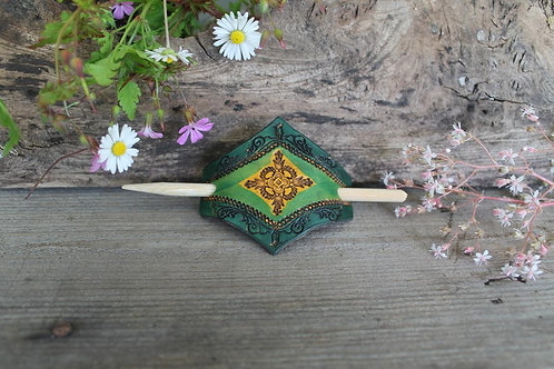 Green and yellow Hairslide/ Leather Barrette /Handmade
