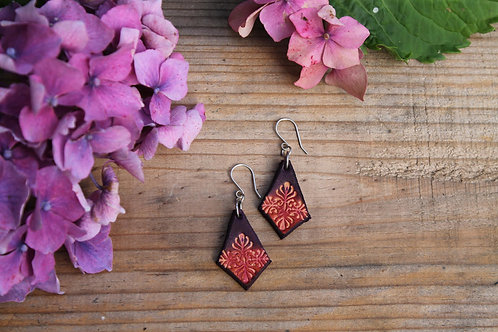 Purple Floral Earrings | Handmade diamond Leather Earrings