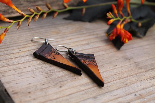 Triangle Tribal Diamond Earrings | Handmade Leather Earrings