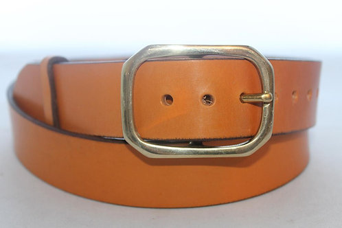 """1 1/2"""" Plain Belt with solid brass buckle, semi-circle"""
