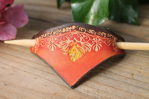 Red and Brown Hairslide/ Leather Barrette /Handmade