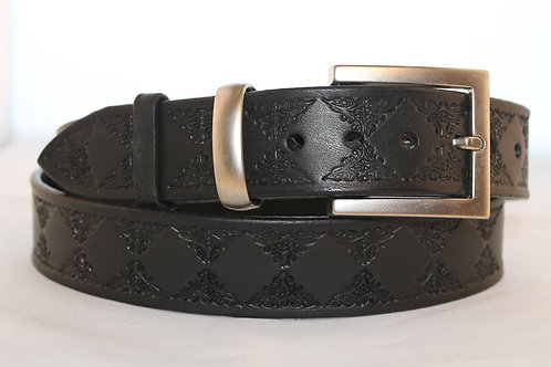 Black Tooled Belt, for jeans - BT35-110