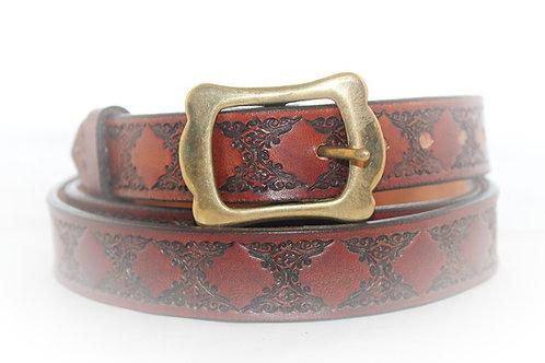 "Maroon Belt Hand Tooled, 1"" (25mm) wide, XT25-018"