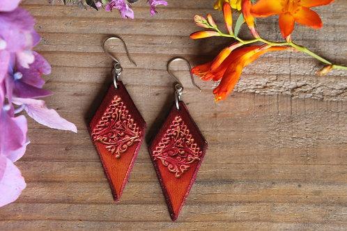 Ruby Red Earrings | Diamond shaped Earrings