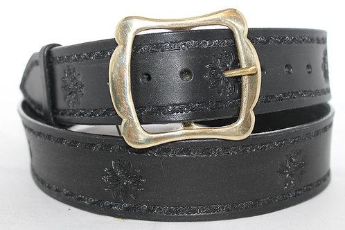 "Handmade leather belt, Black tooled belt, 1¾"" wide, Made in Ireland, BT17-014"