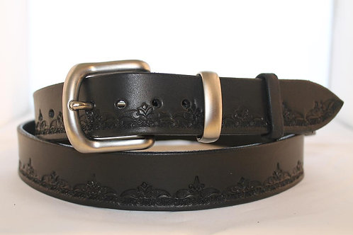 Black Tooled Belt, for jeans - BT35-111