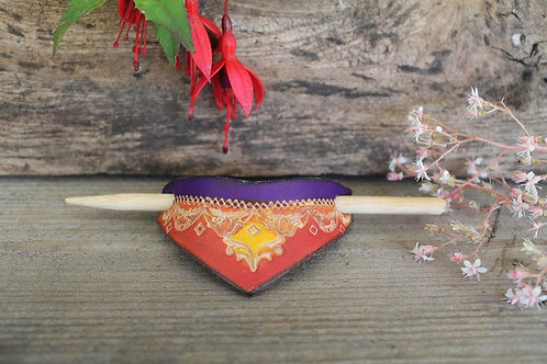 Purple,red and Yellow Hairslide/ Leather Barrette /Handmade