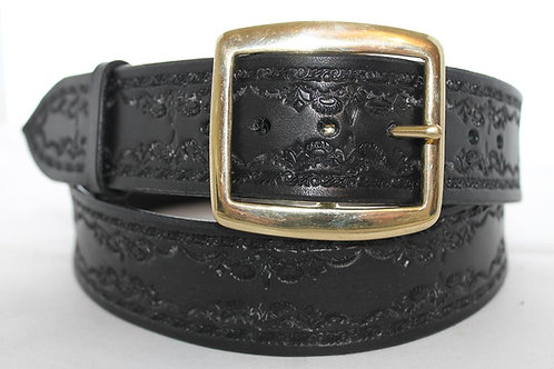 "Black leather belt, Handmade tooled belt, 1¾"" wide, Made in Ireland, BT17-015"