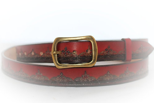 "Red Belt Hand Tooled, 1"" (25mm) wide, XT25-012 (right handed belt)"
