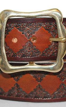 "Marron leather belt, handtooled leather belt, 1¾"" wide, Made in Ireland XT17-020"