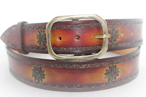 "Brown Belt Hand Tooled, 1½"" wide, XT15-025"