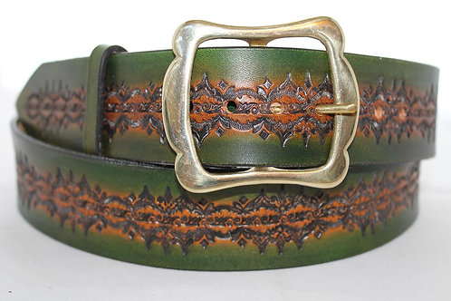 """Green leather belt, handtooled leather belt, 1¾"""" wide, Made in Ireland, XT17-020"""
