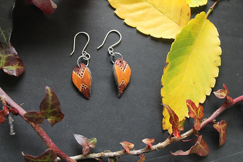 Tribal small drop earrings | Handmade Leather Earrings | Burnt and brown