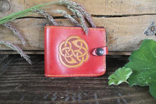 Handmade Leather Wallet Celtic/ Red handstitched wallet handmade