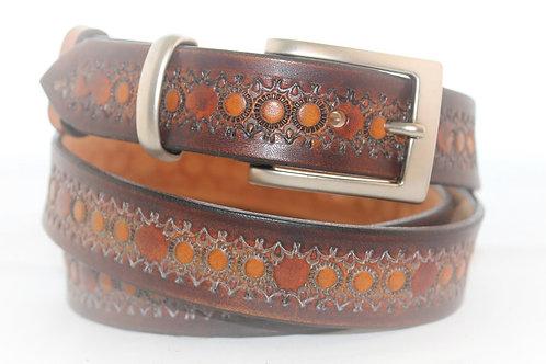 Brown Belt Hand Tooled, 30mm wide, XT30-012