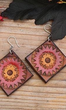 Large square Tribal Earring | Handmade Large red diamond Leather Earrings