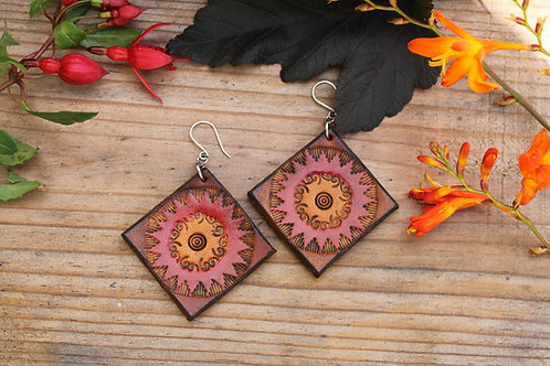 Large square Tribal Earring | Handmade Large red diamond Leather Earrings