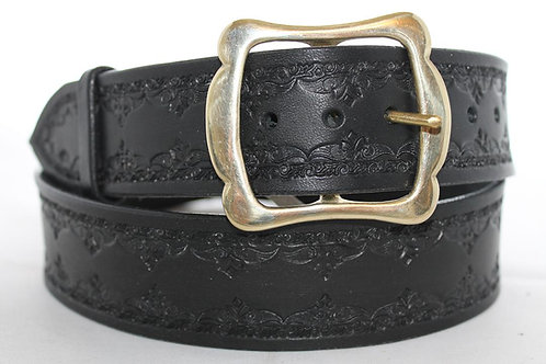"Handmade Black leather belt, 1¾"" wide, Made in Ireland, BT17-016"