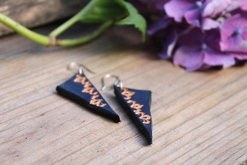 Navy triangle Earrings | Handmade Leather Earring