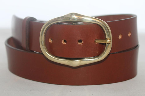 "Handmade Leather Belt | Plain belt 1 1/2"" with solid brass buckle"