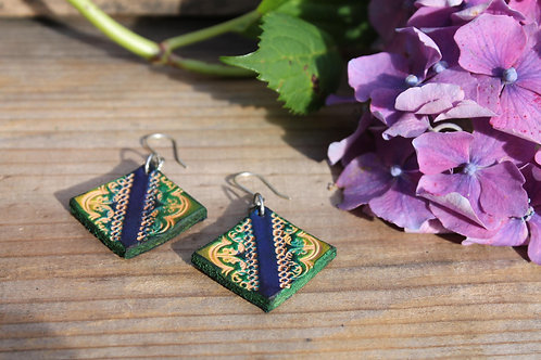 Green and Navy triangle Earrings | Handmade Leather Earring