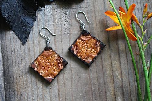 Floral Brown and Burnt Earrings | Lozenge shaped Earrings