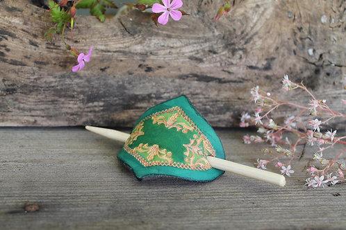 Green Hair Slide / Leather Barrette / Floral design/ Green-Blue