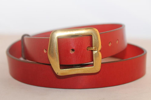 "Plain belts 1¼"" with vintage square Solid Brass Buckle"