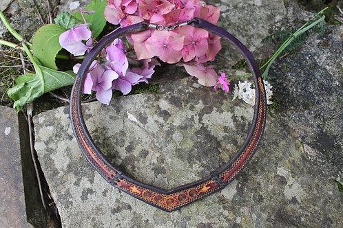Leather burgundy Torc - Celtic spirals design