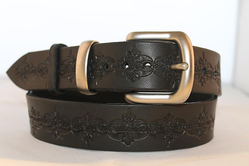 Black Tooled Belt, for jeans - BT35-112