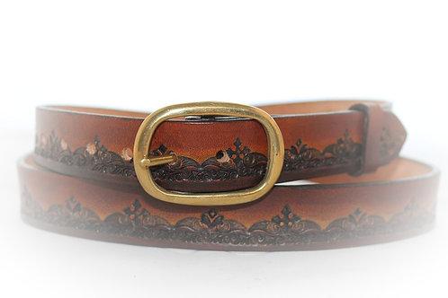 "Brown Belt Hand Tooled, 1"" (25mm) wide, XT25-014 (right handed belt)"