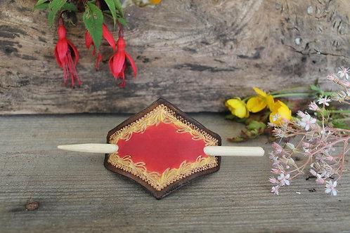 Hair Slide / Leather Barrette /Red/Flame design