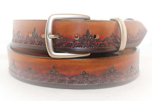 Maroon Brown Belt Hand Tooled, 30mm wide, XT30-015