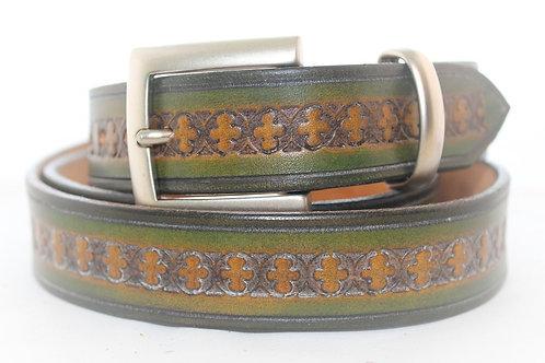 Green Belt Hand Tooled, 30mm wide, XT30-017