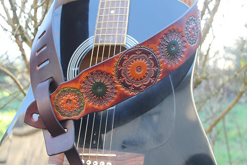 Guitar strap/ Mandala design/ Handmade guitar strap/ Adjustable guitar st