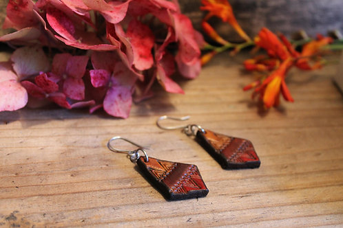 Tribal Diamond Earrings | Handmade Leather Earrings